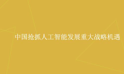 中国抢抓人工智能发展重大战略机遇